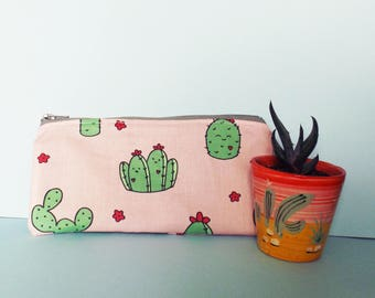 Cactus Pencil Case, Cacti Bag, School Supplies, Plant Lady, Greenery, Cactus Gift, Kawaii Stationery, Cacti Pattern, Zipper Pouch, Baby Pink