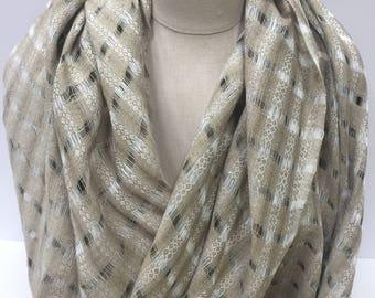 Open Weave Khaki and Tan Raw Silk