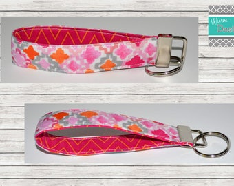 Pink/Orange/Grey/Geometic,  Keychain, Key Fob, Wristlet Keychain, Wristlet Key Fob