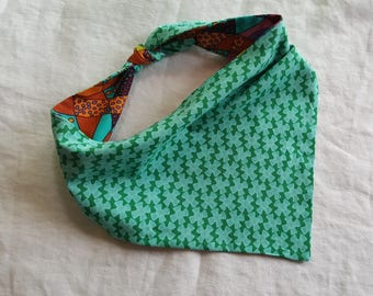 Shaped Tie End Dog Bandana - Reversible Crazy Abstract Colours/Blue and Green Spinners