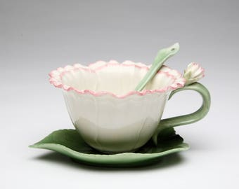 Carnation Cup and Saucer and Spoon Set