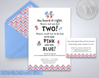Dr. Seuss Baby Shower Invitation, Thing 1 and Thing 2, Dr. Seuss, Baby Shower Invitation, Cartoon Shower