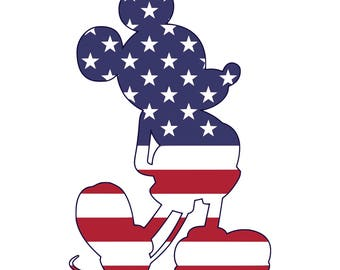 Mickey Mouse SVG, American flag, Mickey mouse head, Mickey Mouse ears svg,4th of july svg file, svg files for Cricut Silhouette