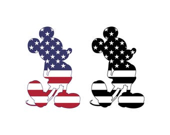 Mickey Mouse SVG American flag svg Mickey mouse head svg Mickey Mouse ears svg 4th of july svg file svg files for Cricut Silhouette