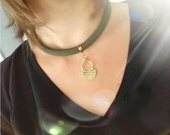 Khaki cord Aztec pendant necklace