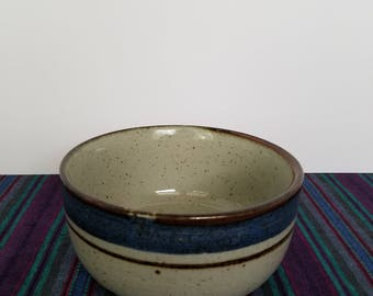 Rustic 80s Blue Stoneware Bowl