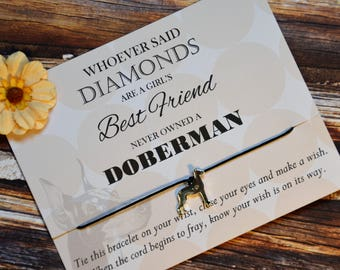 Doberman, Wish Upon Your Wrist, Wish Bracelet, Dog Jewelry, Show Dog, Birthday Gift, Affordable Gift, Unique Gift, Pet Jewelry