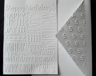 Handmade EMBOSSED HAPPY BIRTHDAY blank card, greeting cards for all occasions, a beautiful hand embossed card for a birthday card greeting