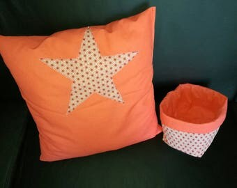orange pillow with star fancy