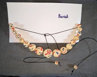 Music Inspired Antique Painted Wood Bead Lariat Necklace