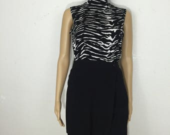 90's zebra animal print slinky sleevelessturtleneck