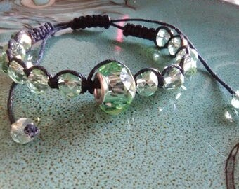 Light/Mint Green Glass Beads Spacer Black Hemp Cording Macrame Bracelet Anklet Ajustable Fashion Jewelry