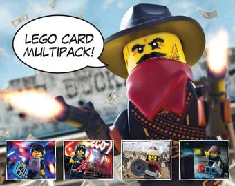 Lego Card Multipack 2 - A6 Greeting Cards - Lego Card, Minifigure, Birthday, Unique Lego Gifts, Special Occasion