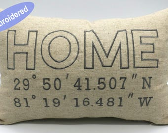 Personalized Latitude Longitude Home Pillow Cover, Custom Address GPS Coordinates Pillow, Customized Embroidered Pillow Cover Christmasgift
