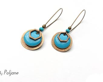 Enamelled sequin earrings turquoise blue and bronze ♦ sequin blue and bronze earrings
