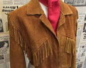 Vintage 1970s Suede Tassel Fringed Western Cropped Jacket Tan Cowboy Hippie Boho Approx UK Size 12 FREE UK & Cheap Worldwide Postage