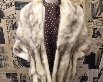 Original Vintage 1950s Blonde Mink Fur Stole Wrap Cape Capelet Scarf Tippet Winter Wedding Size S / M FREE WORLDWIDE POSTAGE