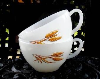 2  Vintage Fire King Wheat Cups Coffee Tea Milk Glass