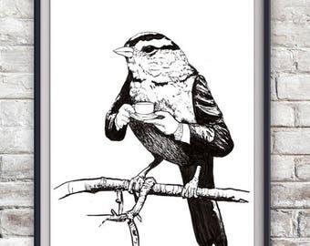 Teacup Bird Illustration Print - Cute, Home Decor, Artwork, Animals