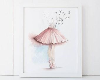 """Ballet Dancer Wall Art, 8"""" x 10"""" print, ballet wall art, dance watercolor, ballet wall decor, gift for girl, girl wall art"""