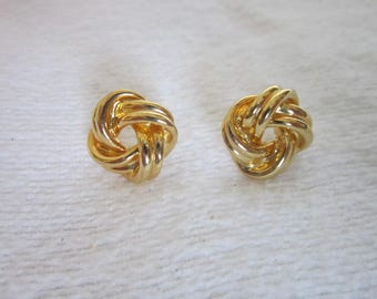 Vintage Gold Tone Ribbon Pierced Earrings