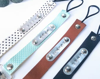 PERSONALIZED Faux Leather Pacifier Clips (Binky clips, Paci clips)