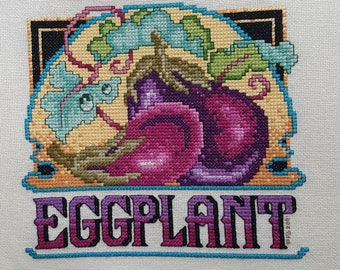 Eggplant Crate Label  - completed cross-stich