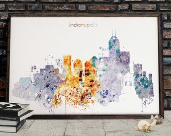 Indianapolis Watercolor Skyline, Indianapolis Printable Skyline, Indiana Digital Poster, Printable wall art, Digital Download