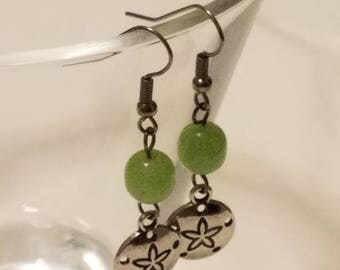 Light Green and Silver Sand Dollar Fish Hook Dangle Earrings