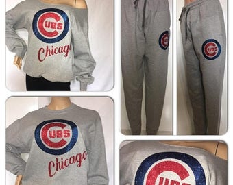 ON SALE Cubs Glitter 2pc Sweatsuit | chicago Cubs | cubbies off the shoulder sweatshirt | sweatpants