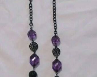 Bead necklace, purple necklace, statement necklace, fashion jewelry necklace, costume jewelry necklace