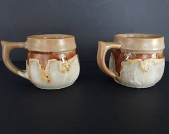 Gorgeous Set of 2 Pottery Mugs, Laurentian Pottery, Tundra, Made in Canada, Drip Glaze, Rustic, Excellent Vintage Condition, 1970's