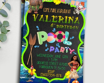Moana Invitation , Disney Moana Invite , Moana Birthday Invitation, Disney Moana Birthday Party, Moana Birthday Invitation, moana pool party