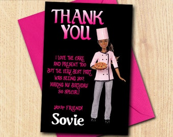 Little Chef Pizza Thank You Card/Little Chef/Chef Thank You/Chef Birthday/Chef Birthday Party/Little Chef Birthday Thank You/Pizza Chef