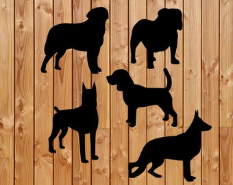 Vinyl Decal,  dog vinyl decal, Box frame decal, Family dog decal, Wine bottle decal, Cute decal, set of dogs Decal,
