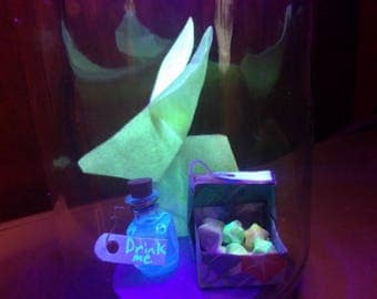 Alice in Wonderland themed black light diorama