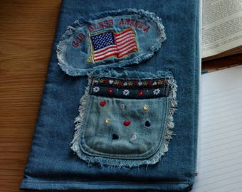 God Bless America Cover Denim Journal, Composition, Notebook Cover, Jacket, Reusable, Bible Cover