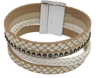 Beige Magnetic Bracelet - with snake skin accent
