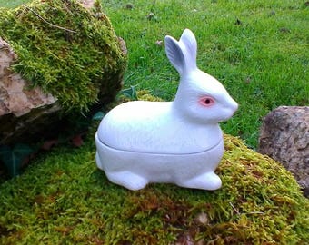 Beautiful small white rabbit Terrine - French vintage Michel Caugant hand painted glazed terrine