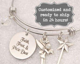 Tinkerbell Engraved - Faith, Trust, and Pixie Dust Bracelet DISNEY Inspired, Star Bracelet, Custom Name Charm Bracelet, Adjustable Bangle