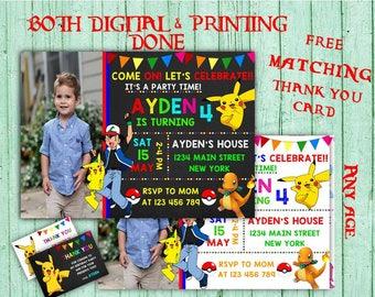 Pokemon Birthday Invitations Pokemon Photo Birthday Party Pokemon Kids Birthday Printable Invitations Pokemon Printable Birthday Card