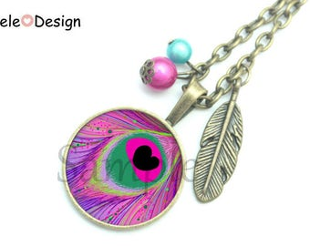Necklace bird feather Peacock pearls purple Green Black vintage