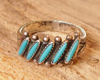 Tiny, Turquoise, Five Stone, Silver Ring, Silver Jewelry, Vintage Ring, Vintage Jewelry