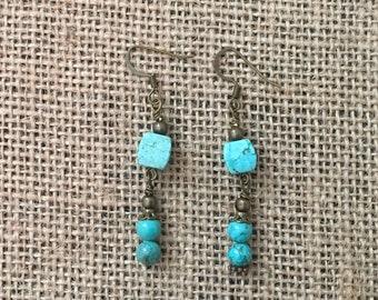 Turquoise howlite drop earrings