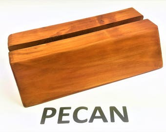 Personalized Pecan Wooden Desktop Business Card Holder Pamphlets Brochures Flyer Holders