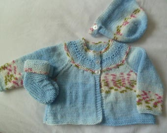Baby cardigan, bootees and bonnet set.