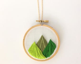 Pacific Northwest Mountains Embroidery Hoop Necklace