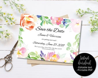 DIY Wedding Save the Date, Save the Date Wedding Template, Printable Save the Date, Editable Save the Date PDF, Watercolor Border 4 SAVE-4