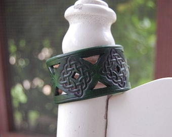 Celtic Weave Leather Bracelet (Green)