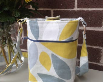 Cross Body Bag, 100% Cotton, Fully Lined, High Quality Fabric, Blue, Neutrals, Yellow, Bold Print, Festival Bag, Holiday Bag